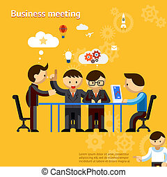 Business meeting, people negotiate at office table vector...
