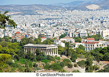 view of Athens city with Temple of Hephaestus from Acropolis...