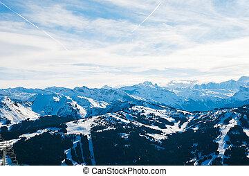 panorama of skiarea in Portes du Soleil region, Morzine -...