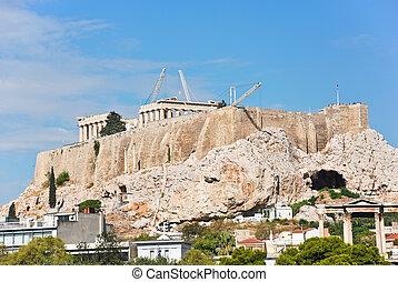 colina,  acrópolis, templos, reconstrucción, atenas