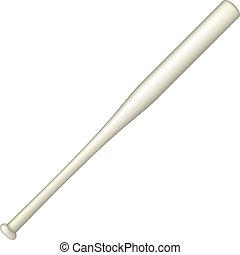 Baseball bat in light design on white background