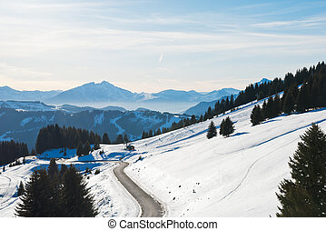 mountain road near Avoriaz town in Alps, Portes du Soleil...