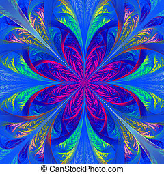 Beautiful multicolor fractal flower. Computer generated...