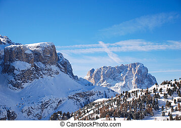 view of Dolomites mountain in Val Gardena, Italy