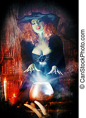 incantation - Fairy wicked witch in the wizarding lair Magic...