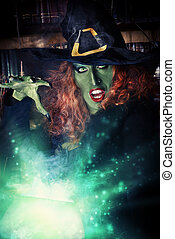 sorcery - Fairy wicked witch in the wizarding lair Magic...