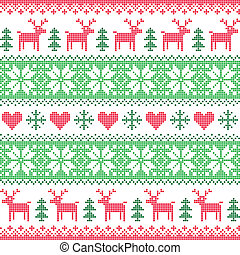 Winter, Christmas deer pattern - Christmas vector background...