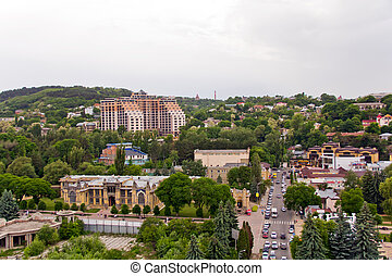 View from bird flight - Panorama of Russian town from bird...