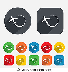 Airplane sign icon Travel trip symbol Circles and rounded...