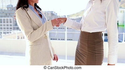 Businesswoman smiling and talking