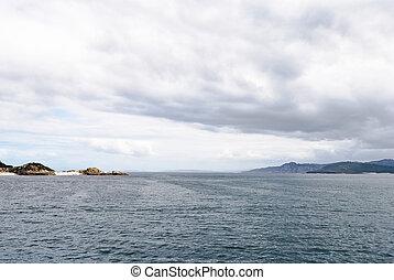 view of Atlantic Ocean from Cies Islands, Spain - view of...