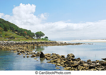 coastline on Cies Islands in Atlantic, Spain - coastline on...