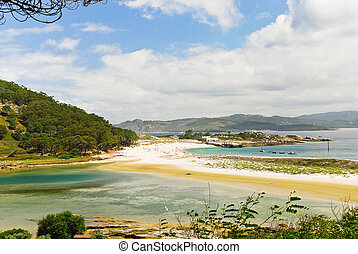 panorama of Cies Islands in Atlantic, Spain - panorama of...