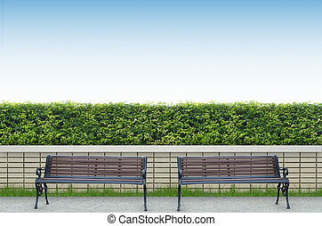 bench and brick fence background