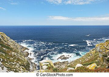 wave surf on Cies Islands in Atlantic, Spain - wave surf on...