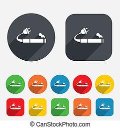 Smoking sign icon. E-Cigarette symbol. Electronic cigarette....