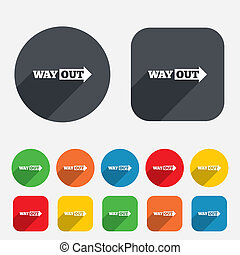 Way out right sign icon Arrow symbol Circles and rounded...
