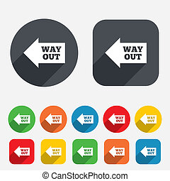Way out left sign icon Arrow symbol Circles and rounded...