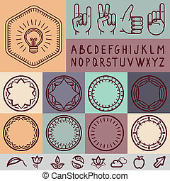 Vector set of outline design elements - graphic design set...