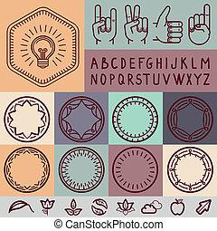 Vector set of outline design elements - graphic design set...