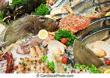 raw fresh fish and seafood on street market in Italy