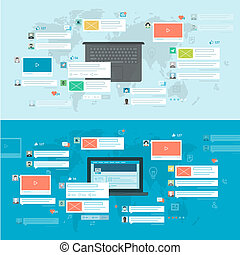 Concepts for social network - Set of flat design concepts...