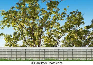 brick fence and big tree background