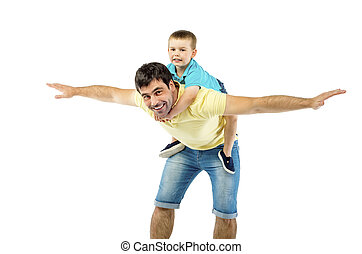 Father and son - Father with his son isolated on white...