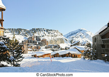 cityscape of Avoriaz town in Alp, France - cityscape of...