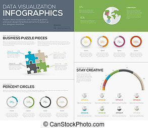 Modern data visualization infographics with jigsaw puzzle...
