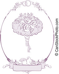 Bridal bouquet, wedding accessories. Illustration in vector...