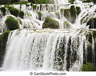cascade of waterfall in Kornati region, Dalmatia, Croatia
