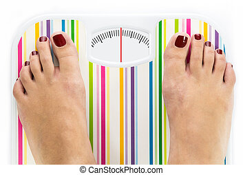 Feet on bathroom scale with clean dial with lines no numbers