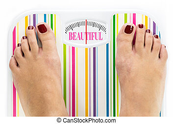 "Feet on bathroom scale with word ""Beautiful"" on dial"