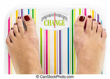 Feet on bathroom scale with word quot;Changequot; on dial -...
