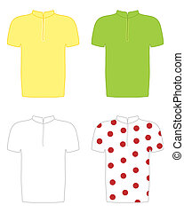 cycling jerseys - an illustration of the yellow green white...
