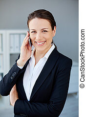 Telephone conversation - Young and pretty employee speaking...