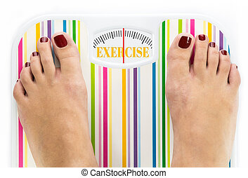 Feet on bathroom scale with word quot;Exercisequot; on dial...