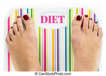 "Feet on bathroom scale with word ""Diet"" on dial"