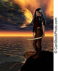 Ciencia, ficción, hembra, guerrero