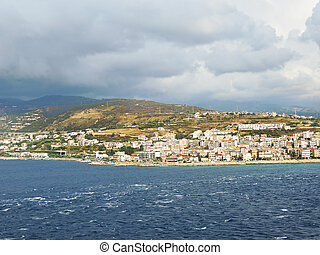 view of town Reggio di Calabria from sea - view of town...
