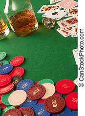 Gambling table and poker chips