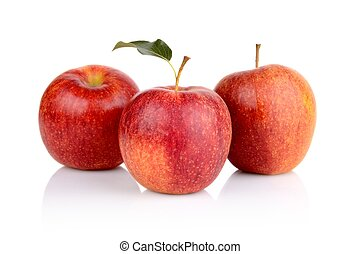 Studio shot of red apples with leaf isolated on white...