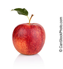 Studio shot of red apple with leaf isolated on white...