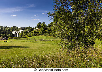 Old concrete railway bridge in Stanczyki, Mazury, Poland