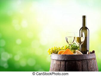 White wine still life with keg - Detail of white wine keg...