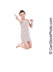 Graceful woman jumping of joy with thumbs up