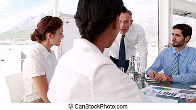 Manager giving out to his staff - Business manager giving...
