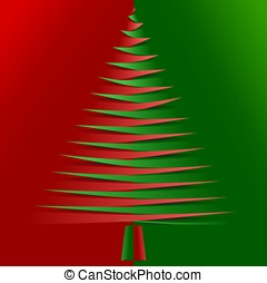 Red and green christmas tree from pointy papers - Red and...