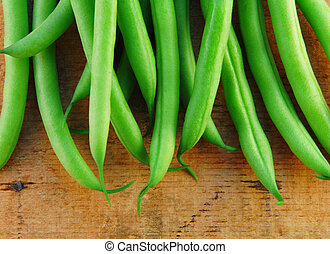 Fresh Green Beans - Fresh green beans on a rustic wooden...